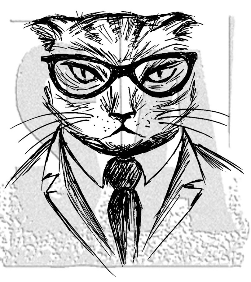 Tim Holtz Rubber Stamp HIPSTER CAT Stampers Anonymous M4-2957 zoom image