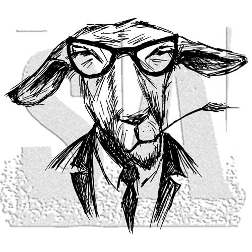 Tim Holtz Rubber Stamp HIPSTER GOAT Stampers Anonymous P1-2958 Preview Image