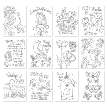 Simon Says Stamp Suzy's BIRDS AND BUTTERFLIES Prints SZBAB17 Cherished