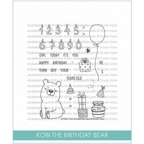 Studio Katia KOBI THE BIRTHDAY BEAR Clear Stamps STKS022* Preview Image