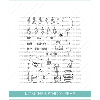 Studio Katia KOBI THE BIRTHDAY BEAR Clear Stamps STKS022*