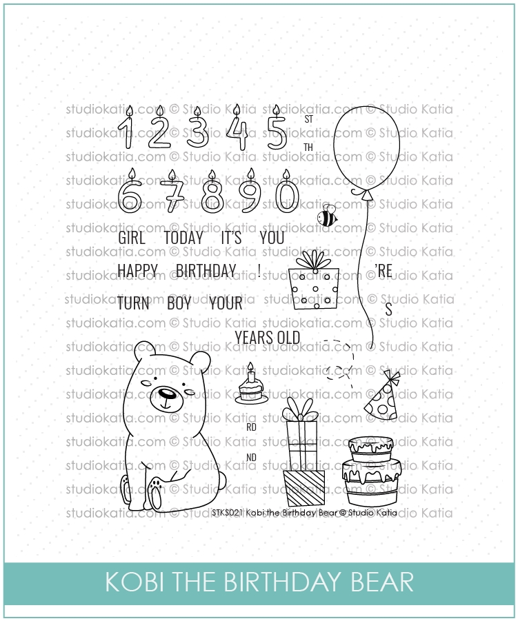 Studio Katia KOBI THE BIRTHDAY BEAR Clear Stamps STKS022* zoom image