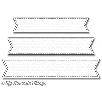 My Favorite Things STITCHED FISHTAIL SENTIMENT STRIPS Die-Namics MFT1123