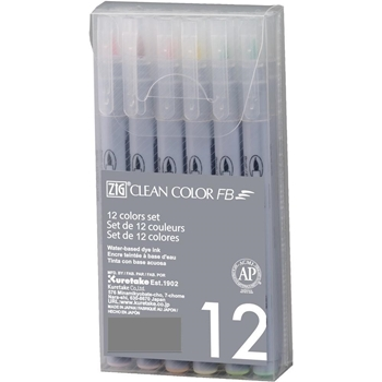 Zig Clean Color Felt Brush Pen Set SOFT FB600T12VA