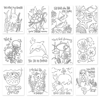 Simon Says Stamp Suzy's PUNDER THE SEA Watercolor Prints SZPTS17 One Of A Kind