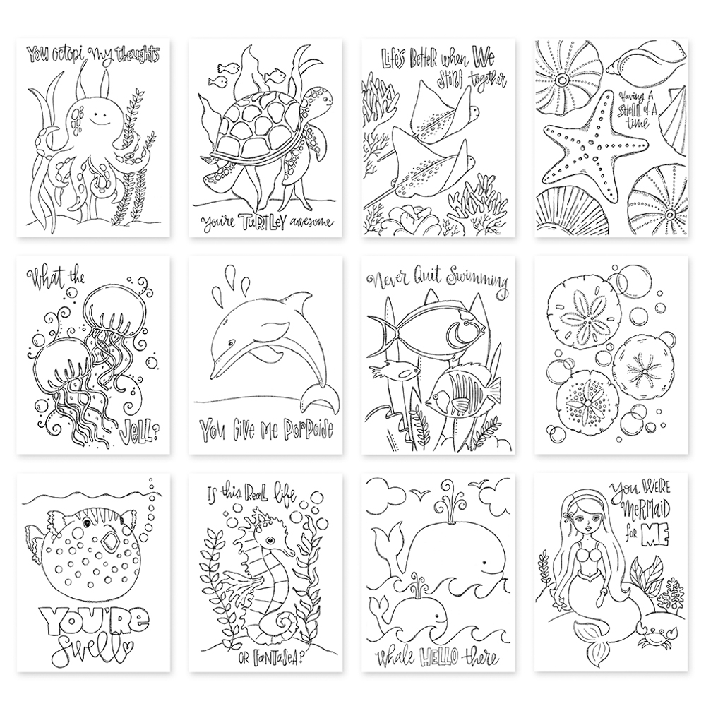 Simon Says Stamp Suzy's PUNDER THE SEA Watercolor Prints SZPTS17 One Of A Kind zoom image
