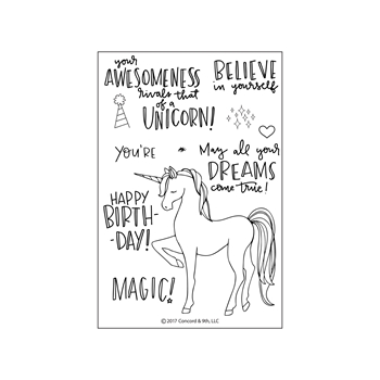 Concord & 9th UNICORN AWESOMENESS Clear Stamp Set 10230*
