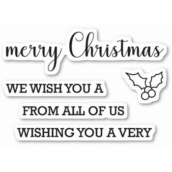 Memory Box Clear Stamps MERRY CHRISTMAS SENTIMENTS Open Studio CL5212