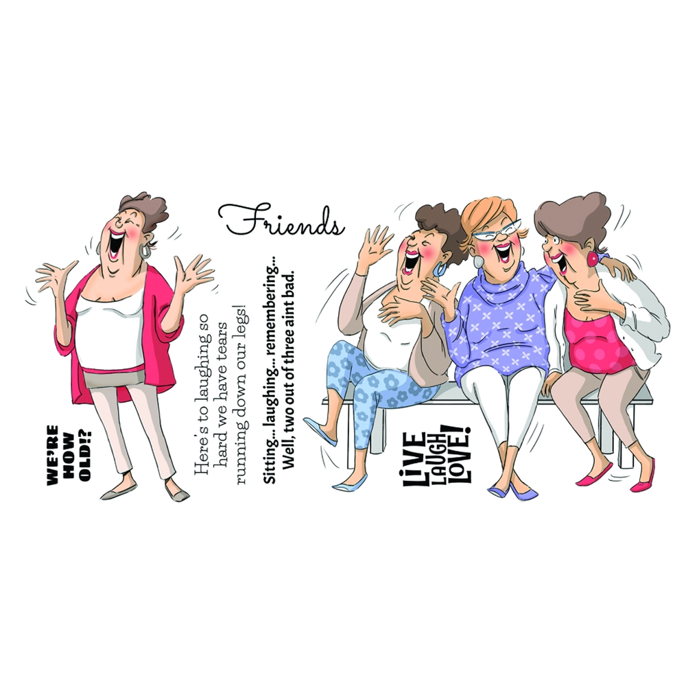 Art Impressions Girlfriends LIVE LAUGH LOVE Clear Stamps AICS15 zoom image