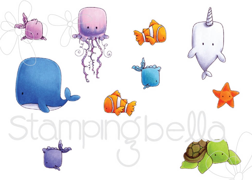 Stamping Bella Cling Stamp UNDER THE SEA CREATURES Rubber UM EB535* zoom image