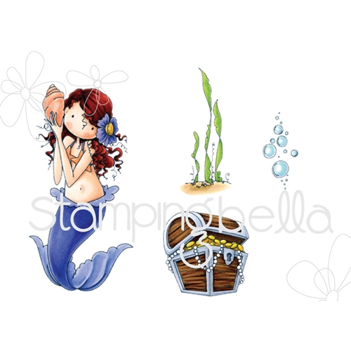 Stamping Bella Cling Stamp TINY TOWNIE MERMAID SET Rubber UM EB519 Preview Image