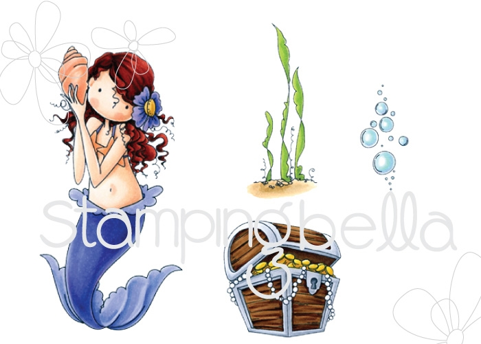 Stamping Bella Cling Stamp TINY TOWNIE MERMAID SET Rubber UM EB519 zoom image