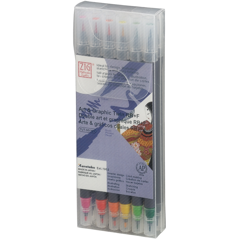Zig Watercolor System Art and Graphic Twin RB+F BASIC COLORS 12VBA* zoom image