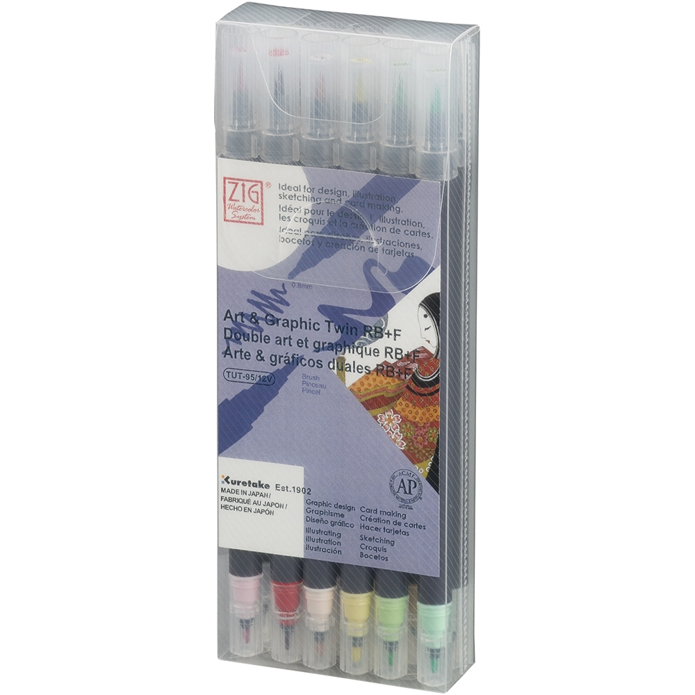 Zig Watercolor System Art and Graphic Twin RB+F PALE COLORS 12VPA* zoom image