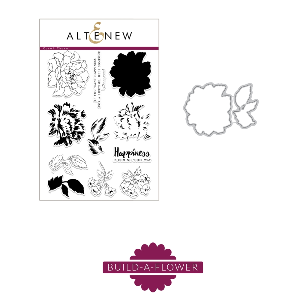 Altenew BUILD A FLOWER CORAL CHARM Clear Stamp and Die Set ALT5169 zoom image