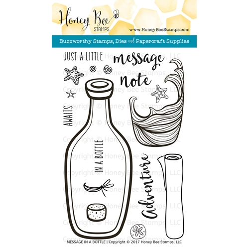 Honey Bee MESSAGE IN A BOTTLE Clear Stamp Set HBST-068 Preview Image