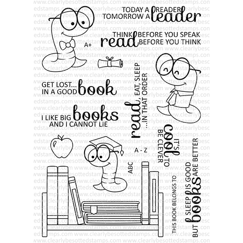Clearly Besotted BOOKWORM Clear Stamp Set Preview Image