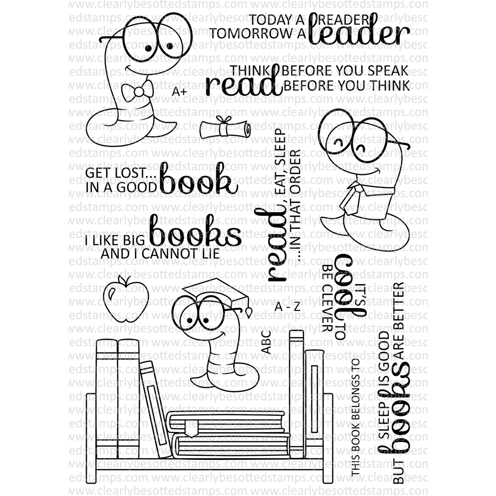 Clearly Besotted BOOKWORM Clear Stamp Set zoom image