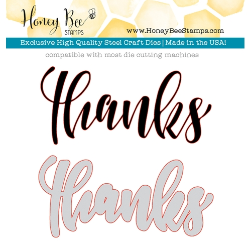 Honey Bee LARGE THANKS Dies HBDS-038 Preview Image