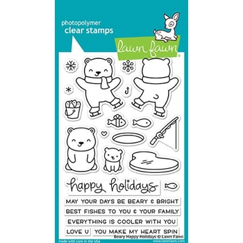 Lawn Fawn BEARY HAPPY HOLIDAYS Clear Stamps LF1470