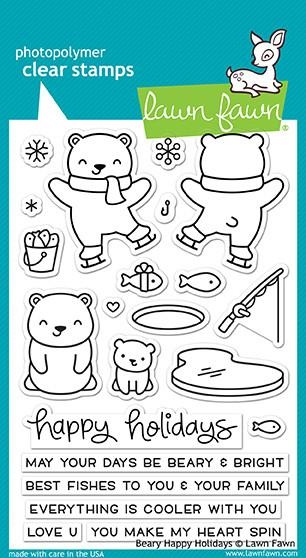 Lawn Fawn BEARY HAPPY HOLIDAYS Clear Stamps LF1470 zoom image