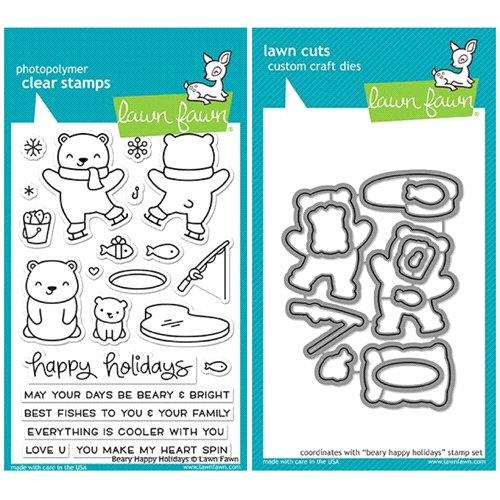 Lawn Fawn SET LF17SETBH BEARY HAPPY HOLIDAYS Clear Stamps and Dies Preview Image