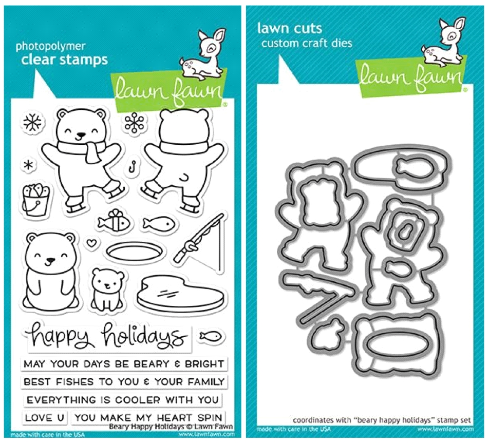 Lawn Fawn SET LF17SETBH BEARY HAPPY HOLIDAYS Clear Stamps and Dies zoom image