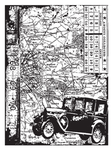 Tim Holtz Rubber Stamp CAR COLLAGE Stampers Anonymous P4-1304