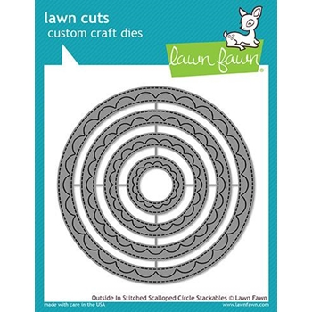 Lawn Fawn OUTSIDE IN STITCHED SCALLOPED CIRCLE STACKABLES Lawn Cuts LF1504