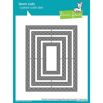 Lawn Fawn OUTSIDE IN STITCHED SCALLOPED RECTANGLE STACKABLES Lawn Cuts LF1505