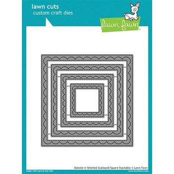 Lawn Fawn OUTSIDE IN STITCHED SCALLOPED SQUARE STACKABLES Lawn Cuts LF1506