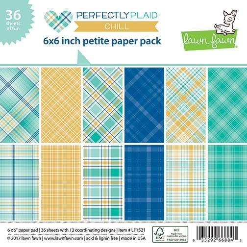 Lawn Fawn PERFECTLY PLAID CHILL 6x6 Inch Petite Paper Pack LF1521 zoom image