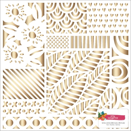 American Crafts Amy Tangerine HEART GOLD FOIL 12x12 Inch Specialty Cardstock Hustle and Heart 341881* Preview Image