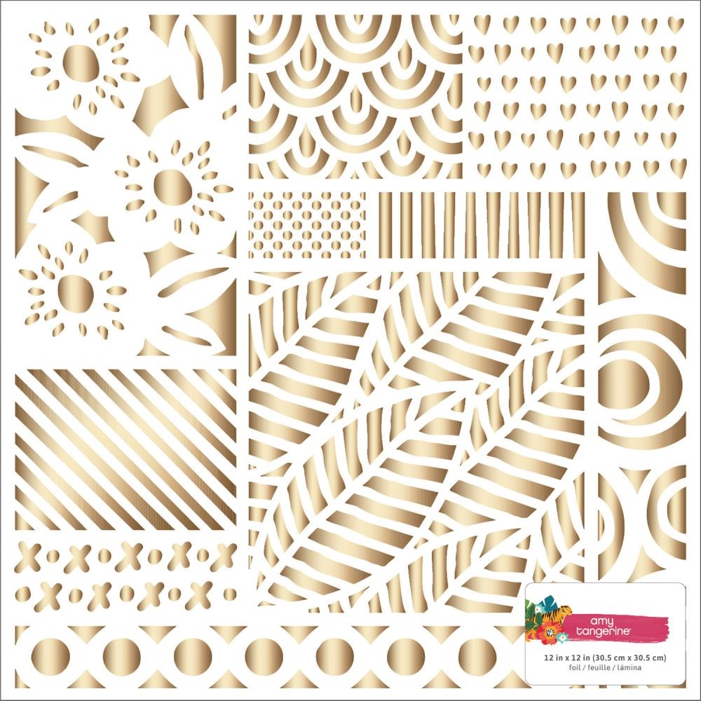 American Crafts Amy Tangerine HEART GOLD FOIL 12x12 Inch Specialty Cardstock Hustle and Heart 341881* zoom image