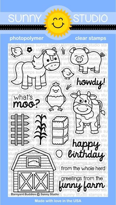 Sunny Studio BARNYARD BUDDIES Clear Stamp Set SSCL-169 zoom image