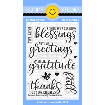 Sunny Studio AUTUMN GREETINGS Clear Stamp Set SSCL-167