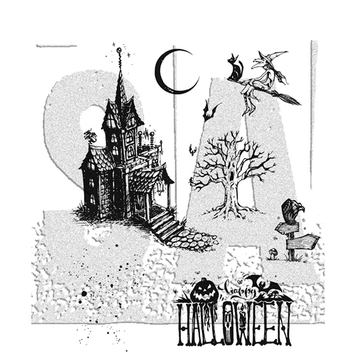 Tim Holtz Haunted House Cling Stamp Set
