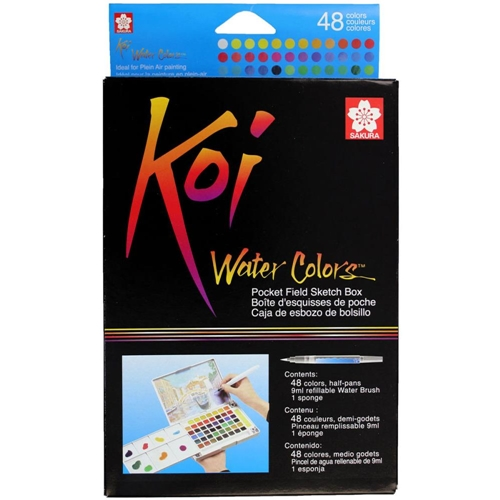 Sakura KOI WATERCOLORS SKETCH BOX 48 Colors With Waterbrush XNCW48N Preview Image