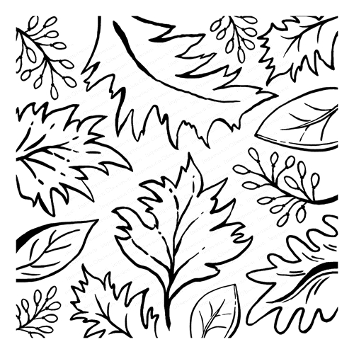 Impression Obsession Cling Stamp SKETCHED LEAVES Cover a Card CC291* Preview Image