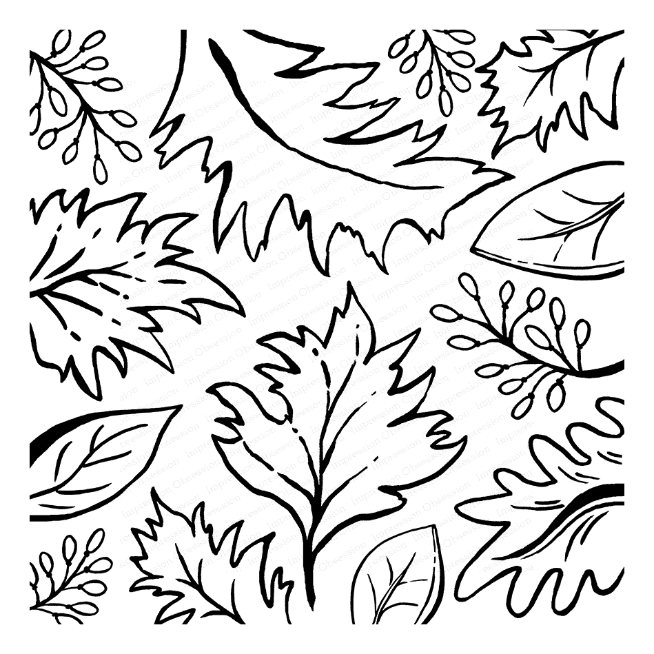 Impression Obsession Cling Stamp SKETCHED LEAVES Cover a Card CC291* zoom image