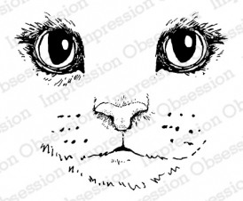 Impression Obsession Cling Stamp CAT FACE D7895 Preview Image