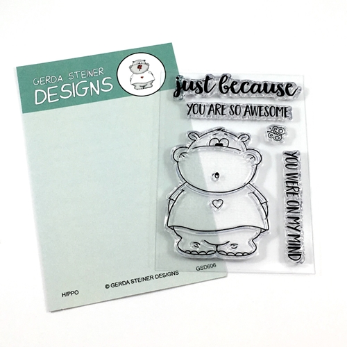 Gerda Steiner Designs HIPPO WITH BUTTERFLY Clear Stamp Set GSD606 Preview Image