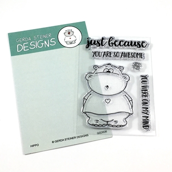 Gerda Steiner Designs HIPPO WITH BUTTERFLY Clear Stamp Set GSD606