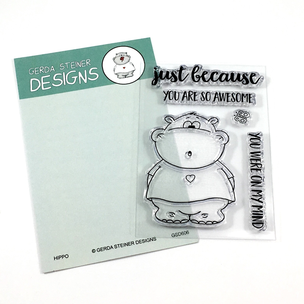 Gerda Steiner Designs HIPPO WITH BUTTERFLY Clear Stamp Set GSD606 zoom image