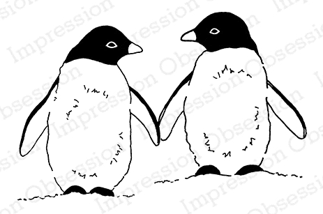 Impression Obsession Cling Stamp PENGUIN PAIR D20369* Preview Image
