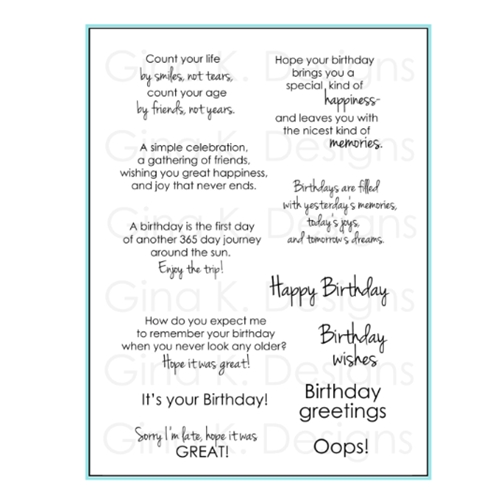 Gina K Designs BIRTHDAY GREETINGS Clear Stamps 1127 Preview Image