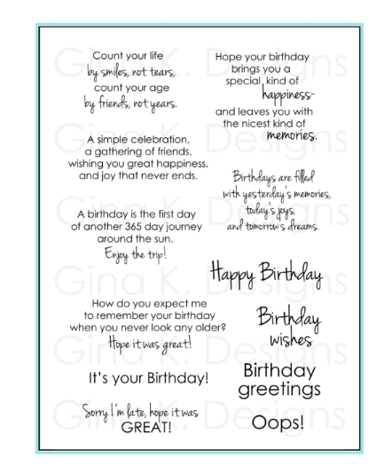 Gina K Designs BIRTHDAY GREETINGS Clear Stamps 1127 zoom image