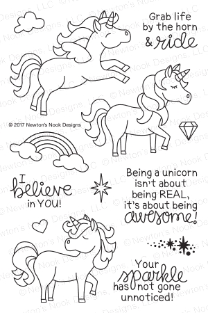 Newton's Nook Designs BELIEVE IN UNICORNS Clear Stamp Set NN1708S03* zoom image