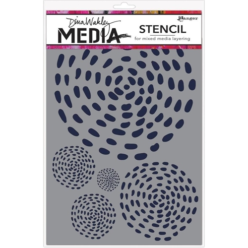 Dina Wakley SWIRLING DASHES Media Stencil MDS58304 Preview Image
