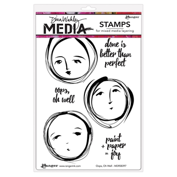 Dina Wakley OOPS OH WELL Media Cling Rubber Stamp MDR58397